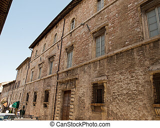 Assisi -Italy - The facade of  old house in Assisi ,Italy