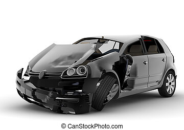 Car accident - An accident with a black car isolated on...
