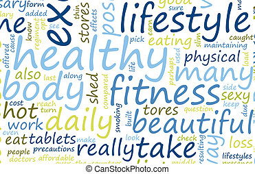 Health and Fitness List as Abstract Background