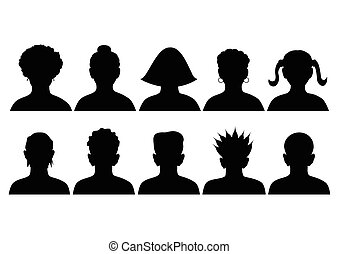 Set of mugshots - avatars - set of silhouettes of heads,...