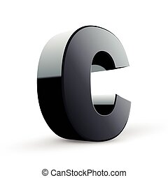 glossy black alphabet C isolated on white background