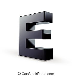 glossy black alphabet E isolated on white background