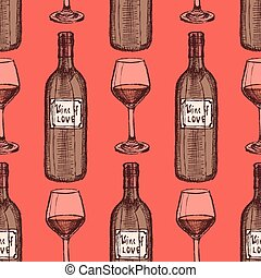 Sketch wine set in vintage style, vector seamless pattern