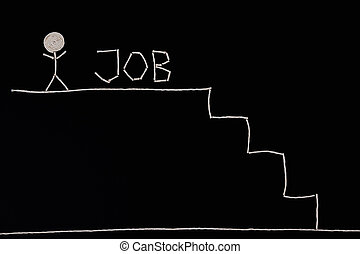 Man that succeeded in job hunting, hired man, unusual...