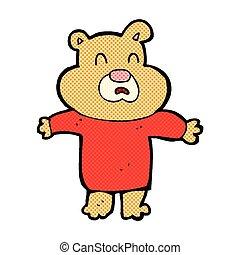 comic cartoon unhappy bear - retro comic book style cartoon...
