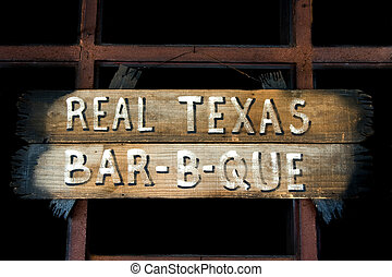 A rustic Texas barbeque sign - An image of a rustic Texas...