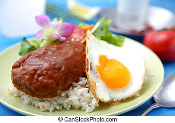 loco moco - studio shot of typical hawaiian food loco moco