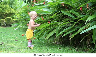 child play with flowers