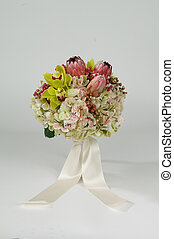 Colorful Floral Bouquet With Ribbon