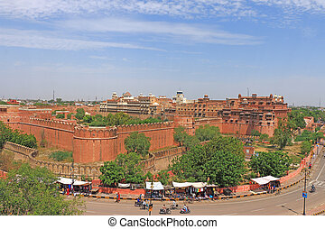 main road around Junagarh red Fort Bikaner rajasthan india -...