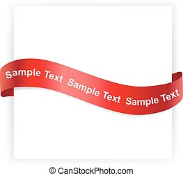 Shiny red satin ribbon on white background - Background...