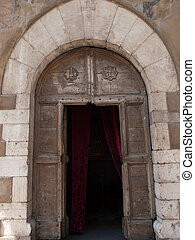 Assisi -Italy - Portal of the Oratory of the pilgrims...