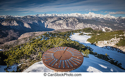 Mountains - Round iron sign indicates directions for...