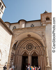 Assisi -Italy - Side entrance to the lower Basilica of St....
