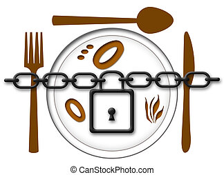 Locked Food Plate - Chain locked over food plate with fork,...