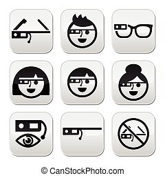 Google glass vector buttons set - Vector black buttons set...