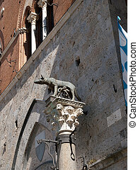 Siena-Italy - The column with she- wolf