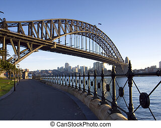 sydney harbour bridge - view of the sydney harbour bridge on...