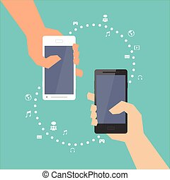 Smartphone with Multimedia Sharing - Hand holding white and...