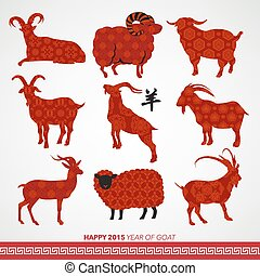 Happy Chinese New Year 2015 Year of Goat Vector Design