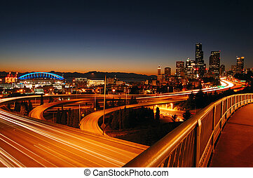 Seattle Freeways - A night shot of freeways and Seattle...