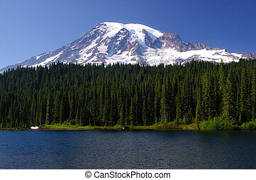 Mount Rainier Portrait - A beautiful 3 layered portrait of...