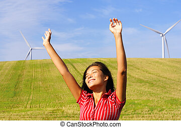 mujer, turbinas, viento, feliz
