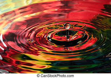 Colorful water droplet - Macro of water droplet in a vibrant...
