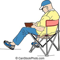 Elderly man sitting - Vector illustration of a man sitting,...