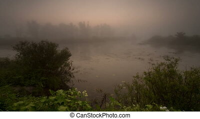 time laps. Fog, the river, landscap