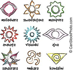 set of chakras symbols - Vector set of chakras symbols...