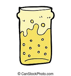 comic cartoon pint of beer - retro comic book style cartoon...