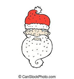 comic cartoon grim santa face - retro comic book style...