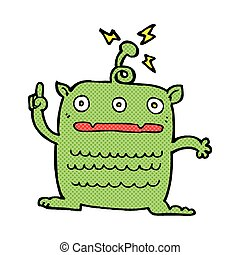 comic cartoon weird little alien - retro comic book style...