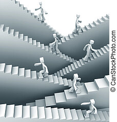 Steps to success or growth concept - People stepping on...