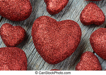 Hearts on Vintage Wood Background for Valentines Day