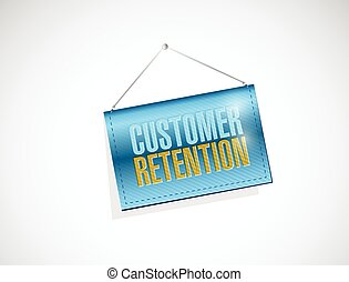 customer retention hanging banner illustration design over a...