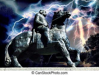 guerreira, cavalo,  medieval, Montando