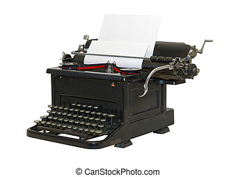 Old typewriter - front sideview - isolated - Classic Old...