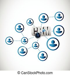 people crm network illustration design over a white...