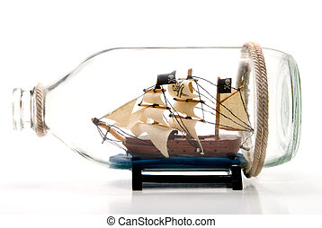 Pirate Ship in a Bottle - A Pirate Ship in a glass Bottle