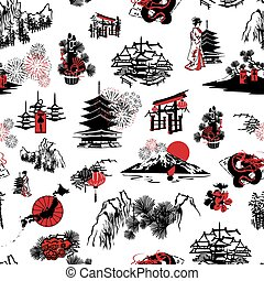seamless pattern Japanese New Year - seamless pattern with...