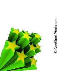 3d stars - 3d rendered illustration of green and yellow...