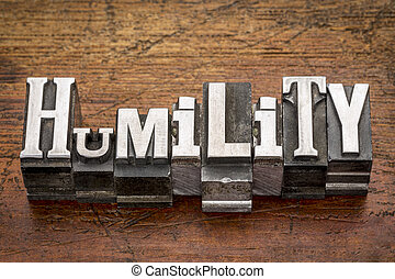 humility word in metal type - humility word in mixed vintage...