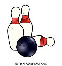 ten pin bowling comic cartoon - ten pin bowling retro comic...