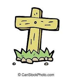 comic cartoon wooden cross grave - retro comic book style...