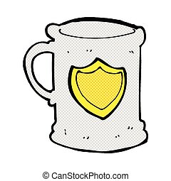 comic cartoon tankard - retro comic book style cartoon...