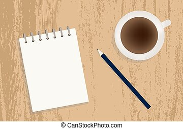 Coffe, notebook and pencil vector - A cup of coffee,...