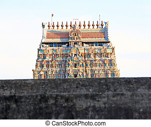colourful gopura in temple complex