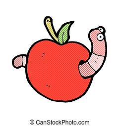 comic cartoon worm in apple